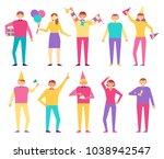 set of people celebrating... | Shutterstock .eps vector #1038942547