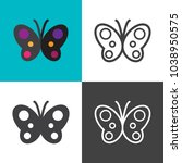 butterfly icons 2018   Shutterstock .eps vector #1038950575