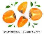 persimmon isolated on white... | Shutterstock . vector #1038953794