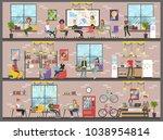 coworking building interior.... | Shutterstock .eps vector #1038954814