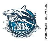 toothy great white shark... | Shutterstock .eps vector #1038956689