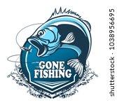 fishing bass logo. bass fish...   Shutterstock .eps vector #1038956695