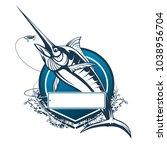 marlin fish logo.sword fish... | Shutterstock .eps vector #1038956704