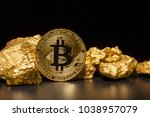 closeup of big gold nugget and... | Shutterstock . vector #1038957079