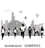 vector silhouettes.jogging in... | Shutterstock .eps vector #103895921