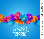 spring sale background with... | Shutterstock .eps vector #1038961534