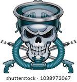 skull with vintage diving mask... | Shutterstock .eps vector #1038972067