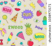 seamless pattern with cheerful... | Shutterstock .eps vector #1038973171