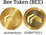 set of physical golden coin bee ...   Shutterstock .eps vector #1038975511