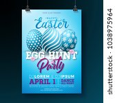 vector easter party flyer... | Shutterstock .eps vector #1038975964