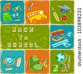 illustration of collage of back to school with different object - stock vector