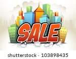illustration of sale on skyscraper background - stock vector