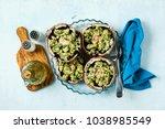 stuffed mushrooms portobello on ...   Shutterstock . vector #1038985549