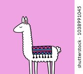 hand drawn white llama with... | Shutterstock .eps vector #1038991045