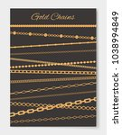 gold chains variety set  poster ... | Shutterstock .eps vector #1038994849