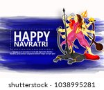 happy navratri  with maa durga | Shutterstock .eps vector #1038995281