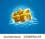 pirates trunk with treasures... | Shutterstock .eps vector #1038996145