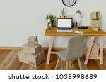 mock up interior workspace with ... | Shutterstock . vector #1038998689