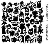 hand drawn black monster... | Shutterstock .eps vector #1038999457