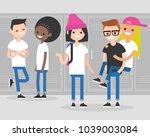 break at school. conversation.... | Shutterstock .eps vector #1039003084