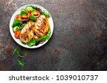 grilled chicken breast. fried... | Shutterstock . vector #1039010737