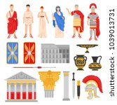 ancient rome empire set of... | Shutterstock .eps vector #1039013731
