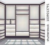 empty storage room wardrobe... | Shutterstock .eps vector #1039013791
