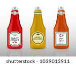 sauce bottles realistic... | Shutterstock .eps vector #1039013911