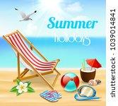 summer holidays realistic... | Shutterstock .eps vector #1039014841