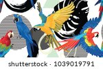 palm leaves and birds... | Shutterstock .eps vector #1039019791