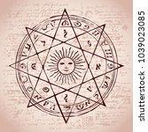 illustration of the sun in an... | Shutterstock .eps vector #1039023085