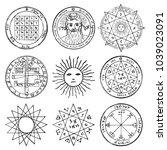 vector set of occult  mystic ... | Shutterstock .eps vector #1039023091