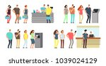 queues of people vector set.... | Shutterstock .eps vector #1039024129