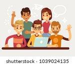 business creative team  happy... | Shutterstock .eps vector #1039024135