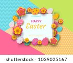 easter card with square frame ... | Shutterstock .eps vector #1039025167