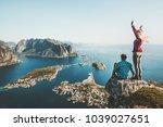 couple travelers traveling... | Shutterstock . vector #1039027651