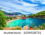 assos village in kefalonia ... | Shutterstock . vector #1039028731