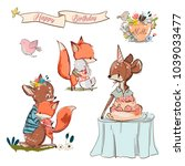 set with cute fox and fawn | Shutterstock .eps vector #1039033477