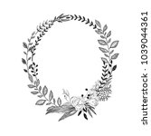 hand drawn wreath of branches... | Shutterstock .eps vector #1039044361
