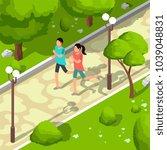 sport family running in park... | Shutterstock .eps vector #1039048831