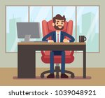 businessman working at desk...   Shutterstock .eps vector #1039048921