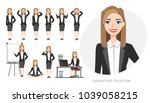 set of emotions and poses for... | Shutterstock .eps vector #1039058215