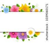 card with flowers white... | Shutterstock .eps vector #1039060171