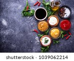 set of different sauces.... | Shutterstock . vector #1039062214