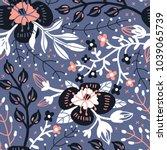 vector floral seamless pattern... | Shutterstock .eps vector #1039065739