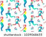 woman fitness seamless pattern. ... | Shutterstock .eps vector #1039068655