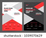 geometry red brochure layout... | Shutterstock .eps vector #1039070629