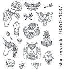 vector set of hand drawn...   Shutterstock .eps vector #1039071037
