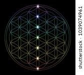 glowing flower of life. vector... | Shutterstock .eps vector #1039074961