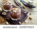 chocolate  carob  mousse topped ... | Shutterstock . vector #1039075015